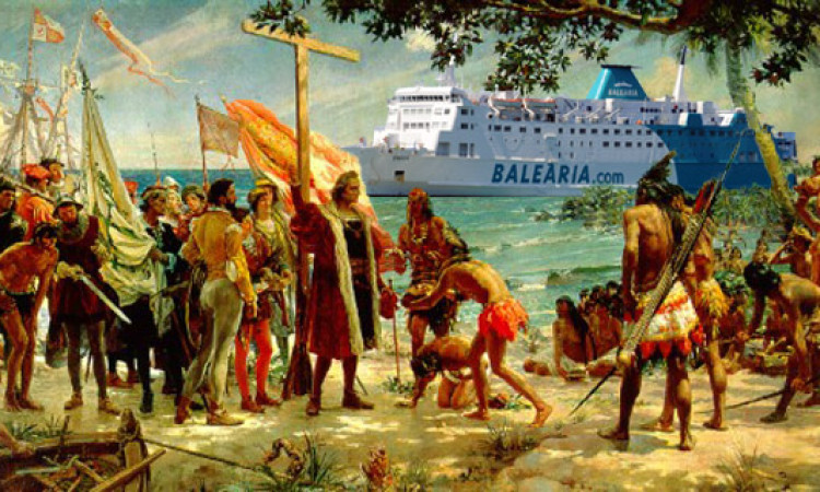 Cristobal Colón descubrió América con el nuevo-viejo barco de Baleària