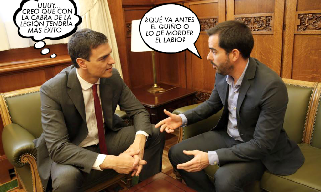 Carracao ensaya con Pedro Sánchez caritas sexis para ver si así alguien le hace caso